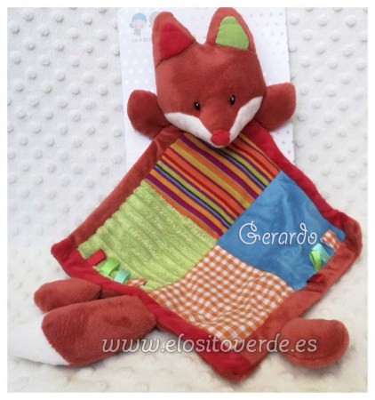 Doudou multicolor zorrito fox bordado nombre bebé (2)