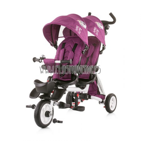 Triciclo gemelar Twin fun 2 reclicanable giratorio burgundy