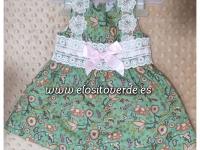 Vestido Niña Verde Braguita a juego Flores SÚPER REBAJAS