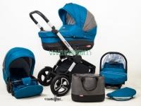 Aspero carro de bebé 3 piezas azul petróleo