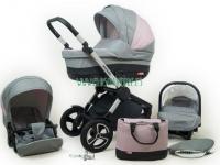 Aspero carro de bebé 3 piezas rosa