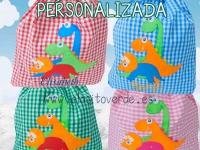 Bolsa dinosaurios guarda ropa guarderia personalizada