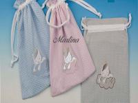 Bolsa Guarde bebé unicornio gris topitos