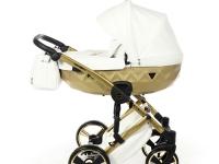 Diamond satín mirror 3 en 1 carro de bebé blanco oro