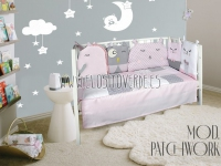 Colcha y chichonera animales patchwork rosa