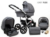 Carro Longer 3 piezas gris melange