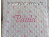 Manta topitos estrellas rosa bordada