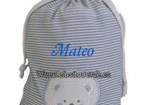 Bolsa Aseo o Guarde bebé oso azul bordada