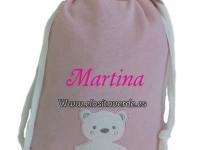 Bolsa Aseo o Guarde bebé oso rosa lisa lunares detrás