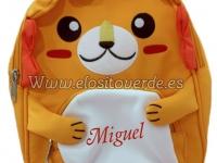 Mochila león 3D nombre bordado