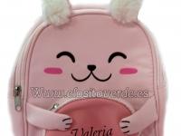 Mochila nombre conejo 3D niña rosa orejitas