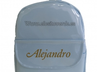 Mochila personalizable charol azul bebé niño y niña o mamá