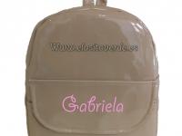Mochila personalizable charol camel bebé niño y niña o mamá