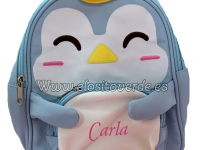 Mochila pingüino 3D nombre corona bordado
