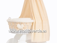Moisés madera cuna mimbre textil entrelazado beige premium