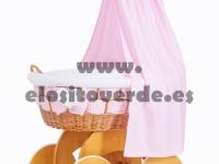Moisés madera cuna mimbre textil entrelazado rosa premium