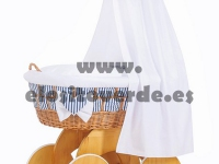 Moisés madera cuna mimbre textil entrelazado marino premium