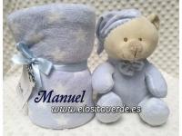 Peluche oso Azul con manta personalizada estrellas estuche regalo