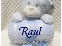 Peluche oso con manta personalizada rombos Azul
