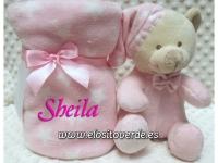 Peluche oso rosa con manta personalizada estrellas estuche regalo