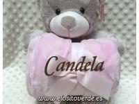 Peluche oso con manta personalizada rombos Rosa