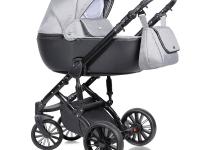 Prado cochecito de bebe 2 o 3 piezas Ecopiel gris negro