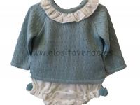 Traje lana pompón bebé verde agua
