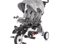 Triciclo gemelar reclinable giratorio gris twin Fun 2