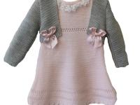 Vestido niña y torera rosa y gris