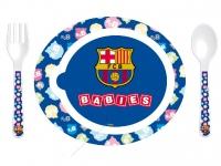 Pack Plato + cuchara + tenedor Fc Barcelona