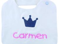 Baberos con nombre Corona bebé niña