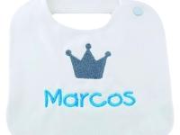 Baberos con nombre bebé corona niño