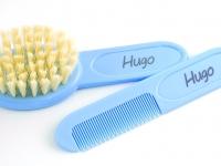Peine + cepillo azul con nombre bebé