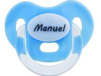 Chupete azul con nombre personalizado