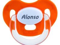 Chupete naranja con nombre personalizado