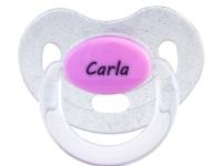 Chupete purpurina rosa con nombre personalizado