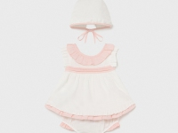 Conjunto blusón y capota recién nacida niña Plumeti Mayoral