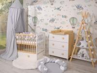 Habitación Bebé Completa Blanca Cuna +  Cómoda Natural Wood e Leonardo Color a elegir.