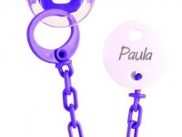 Pack Chupete + cadena morado con nombre personalizado