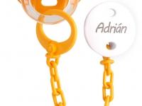 Pack Chupete + cadena naranja con nombre personalizado