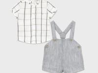 Conjunto pantalón corto tirantes recién nacido niño cuadros mayoral