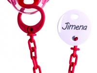 Pack Chupete + cadena rojo con nombre personalizado