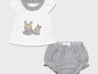 Conjunto short recién nacida niña conejitos rayas