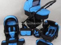 Carro de bebé Milano 3 piezas Azul negro 2018