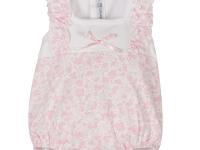 Pelele bebé rosa manga corta flores