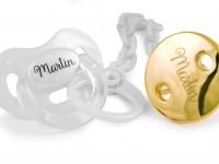 Pack Chupete perlado + cadena perlada broche dorado  con nombre personalizado