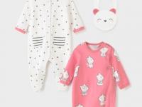 Pack 2 trajes gatito con babero recién nacido niña mayoral